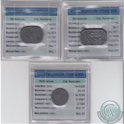 Tokens: 3x Communion Lead Tokens: 1833 Beauharnois, Church of Scotland (2000 Charlton cat. # Ce-200)