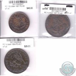 Token lot of 3x: 1854 PC-6C1 VF, 1857 PC-6D VF-35 & 1857 Half-cent PC-5D EF-45. 3pcs