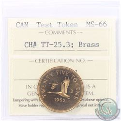 Test Token: 25-cent 1965 CH#TT-25.3; Brass. ICCS Certified MS-66. A Brilliant Lustrous Token with ch