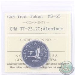 Test Token: 25-cent 1965 CH#TT-25.2C; Aluminum. ICCS Certified MS-65. A Choice eye appeal Token.