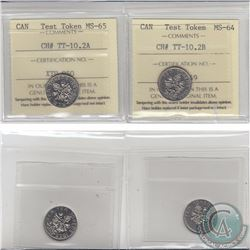 Test Token: Lot of 2x Nickel 10-cent 1965 Tokens, CH# TT-10.2A (With R.C.M) and TT-10.2B (Without R.