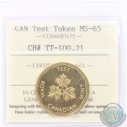 Test Token: Dollar 1984 CH#TT-100.21; Gold Plated Nickel. ICCS Certified MS-65.