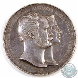 Medallion: Antique German Medal featuring the bust of Wilhelm Konig V. Preussen & Augusta Kon. 1854-