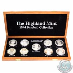 Medallion: Limited Edition Highland Mint 1994 Baseball 9-coin .999 Fine Silver Medallion Set, Serial