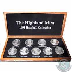 Medallion: Limited Edition Highland Mint 1995 Baseball 9-coin .999 Fine Silver Medallion set serial