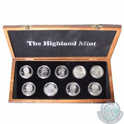 Medallion: Limited Edition Highland Mint 1996 Baseball 9-coin .999 Fine Silver Medallion set serial