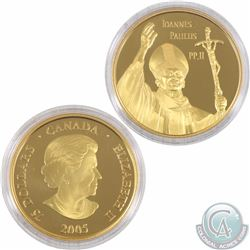 CANADA 2005 $75 Proof Gold, Pope John Paul II. Coin comes with all original Mint Packaging.