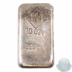 CANADA VINTAGE Johnson Matthey 10 oz Silver Bar .999 Fine old Poured Bar with Diamond Logo, Large JM