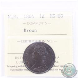 New Brunswick 1-cent 1864 ICCS Certified MS-60 Brown