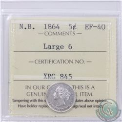 New Brunswick 5-cent 1864 Large 6 ICCS Certified EF-40