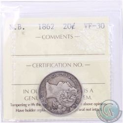 New Brunswick 20-cent 1862 ICCS Certified VF-30