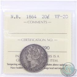 New Brunswick 20-cent 1864 ICCS Certified VF-20