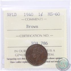 Newfoundland 1-cent 1940 ICCS Certified MS-60 Brown