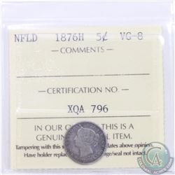 Newfoundland 5-cent 1876H ICCS Certified VG-8