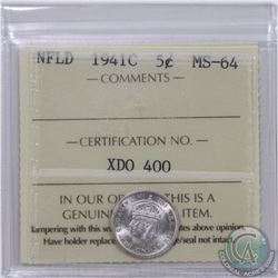 Newfoundland 5-cent 1941C ICCS Certified MS-64