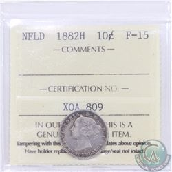 Newfoundland 10-cent 1882H ICCS Certified F-15