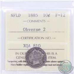 Newfoundland 10-cent 1885 Obverse 2 ICCS Certified F-12