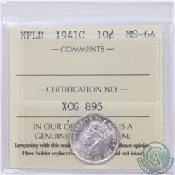 Newfoundland 10-cent 1941C ICCS Certified MS-64