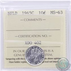 Newfoundland 10-cent 1945C ICCS Certified MS-63. Only 6 with higher grade
