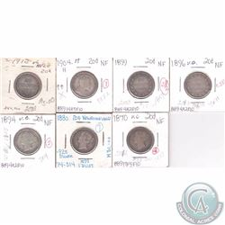 Newfoundland 20-cent lot: 1870, 1880, 1894, 1896, 1899, 1904H & 1912. 7pcs