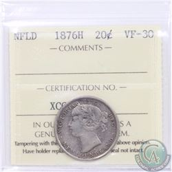 Newfoundland 20-cent 1876H ICCS Certified VF-30