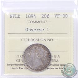 Newfoundland 20-cent 1894 Obverse 1 ICCS Certified VF-30