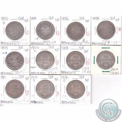 Newfoundland 50-cent lot: 1872-1918, Dates include:1872H, 1881, 1896, 1898, 1899, 1904H, 1908, 1919,