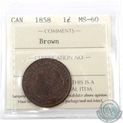1-cent 1858 ICCS Certified MS-60 Brown
