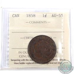 1-cent 1858 ICCS Certified AU-55