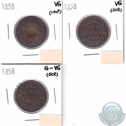 1-cent 1858 Group Lot. Coins grade G-6 to VG-8 (coins are scratched or Impaired). 3pcs