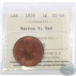 1-cent 1859 Narrow 9 ICCS Certified MS-64