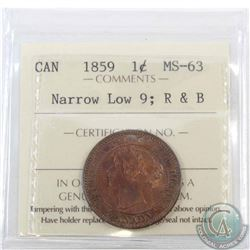 1-cent 1859 Narrow Low 9 ICCS Certified MS-63