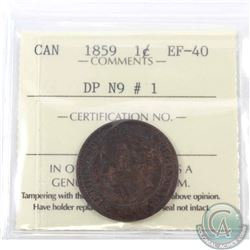 1-cent 1859 DP N9 #1 ICCS Certified EF-40. A beautiful Lustrous chocolate brown example of this toug
