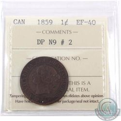 1-cent 1859 DP N9 #2 ICCS Certified EF-40