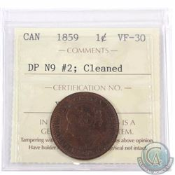 1-cent 1859 DP N9 #2 ICCS Certified VF-30