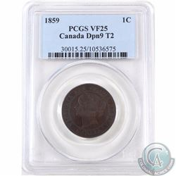 1-cent 1859 DP N9 #2 PCGS Certified VF-25