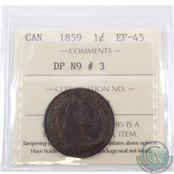 1-cent 1859 DP N9 #3 ICCS Certified EF-45. Second finest known example in this grade.