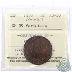 1-cent 1859 DP N9 Variation ICCS Certified AU-50