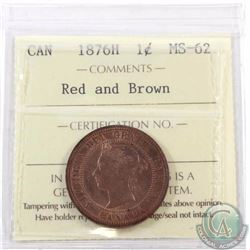 1-cent 1876H ICCS Certified MS-62 Red and Brown