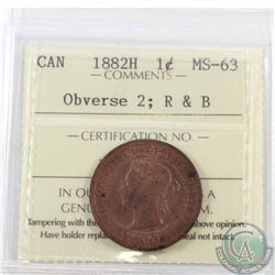 1-cent 1882H ICCS Certified MS-63 Red and Brown