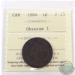 1-cent 1884 Obverse 1 ICCS Certified F-15