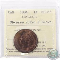 1-cent 1884 Obverse 2 ICCS Certified MS-63 Red & Brown. An overall attractive coin with lots of unde