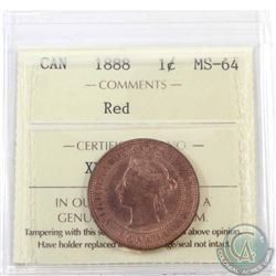 1-cent 1888 ICCS Certified MS-64 Red