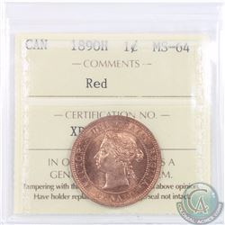 1-cent 1890H ICCS Certified MS-64 Red