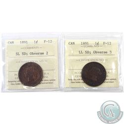 1-cent 1891 SD SL; Obverse 2 & SD LL; Obv.3, ICCS Certified F-12. 2pcs