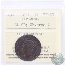 1-cent 1891 SD LL Obverse 2 ICCS Certified EF-45