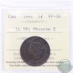 1-cent 1891 SD LL Obverse 2 ICCS Certified VF-30