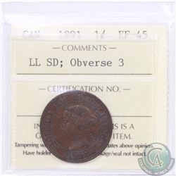 1-cent 1891 SD LL Obverse 3 ICCS Certified EF-45