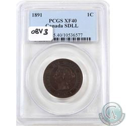 1-cent 1891 SD LL Obverse 3 PCGS Certified EF-40
