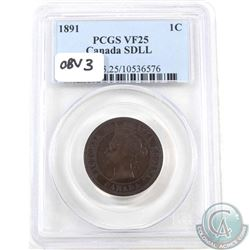1-cent 1891 SD LL Obverse 3 PCGS Certified VF-25